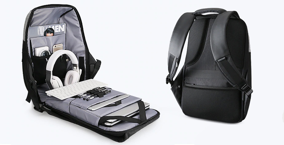Отделения для ноутбука и планшета на задней стенке рюкзака.