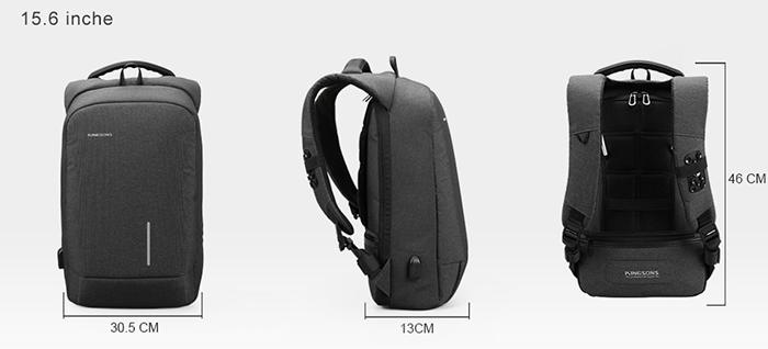Габариты рюкзака Kingsons ks3149w для ноутбука 15,6 дюймов